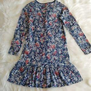 Lands' End Long Sleeve Cozy Ruffled Dress